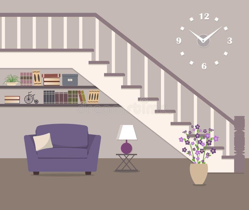 Purpurfärgad fåtölj som lokaliseras under trappan stock illustrationer