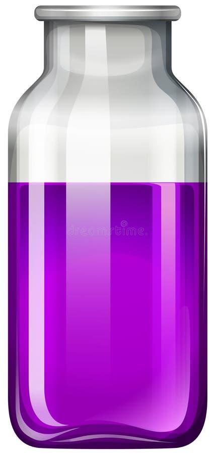 Purpurfärgad flytande i glasflaska royaltyfri illustrationer