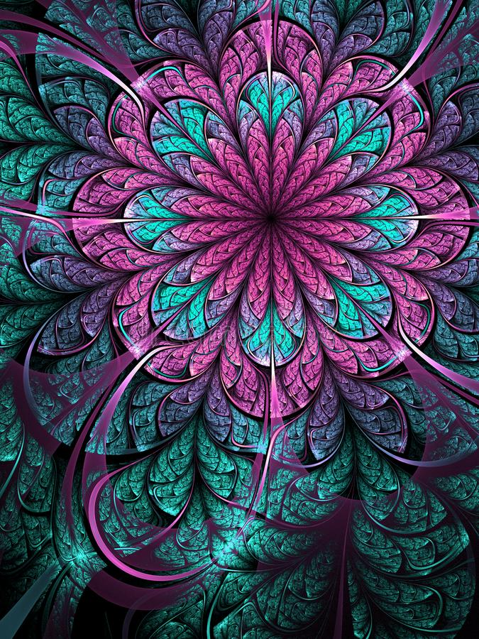 Purpurfärgad fractalblomma vektor illustrationer