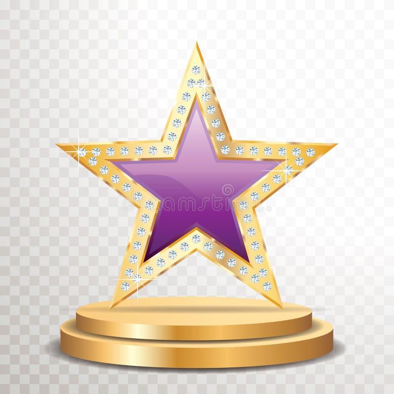 Purpurfärgad guld- stjärnaädelsten vektor illustrationer