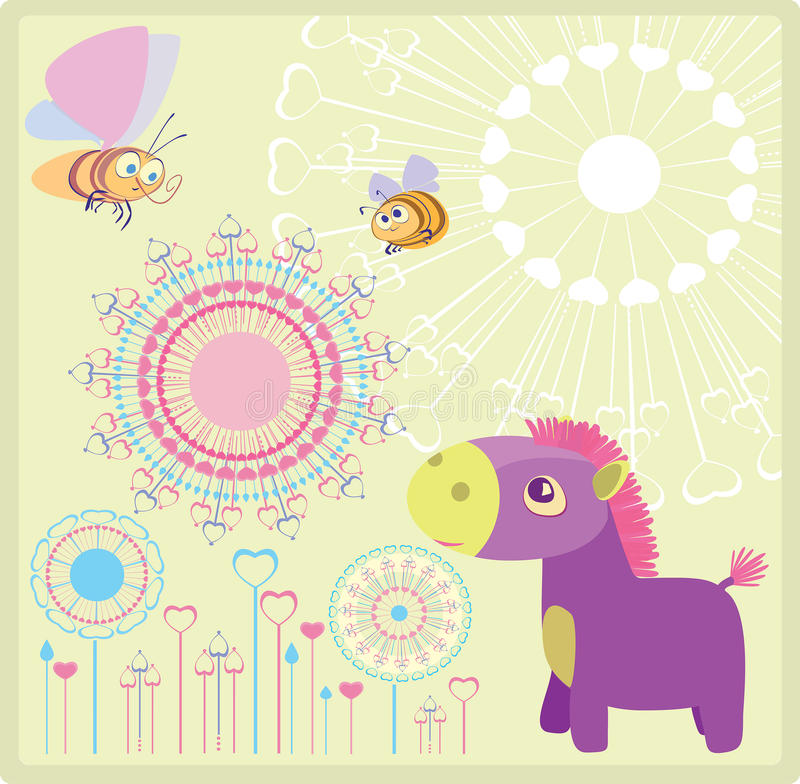 Purpurfärgad Häst Arkivfoto