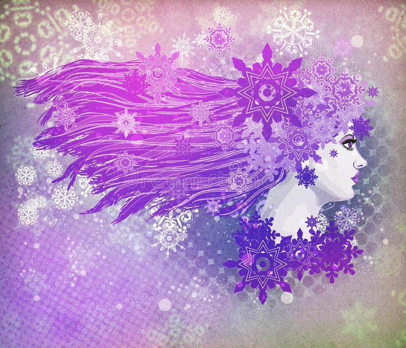 Purpurfärgad hårflickaillustration royaltyfri illustrationer