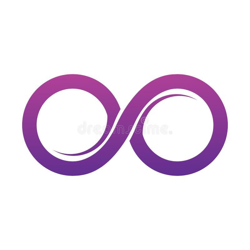 Purpurfärgad illustration för vektor för oändlighetssymbolsymboler Obegränsat lim royaltyfri illustrationer