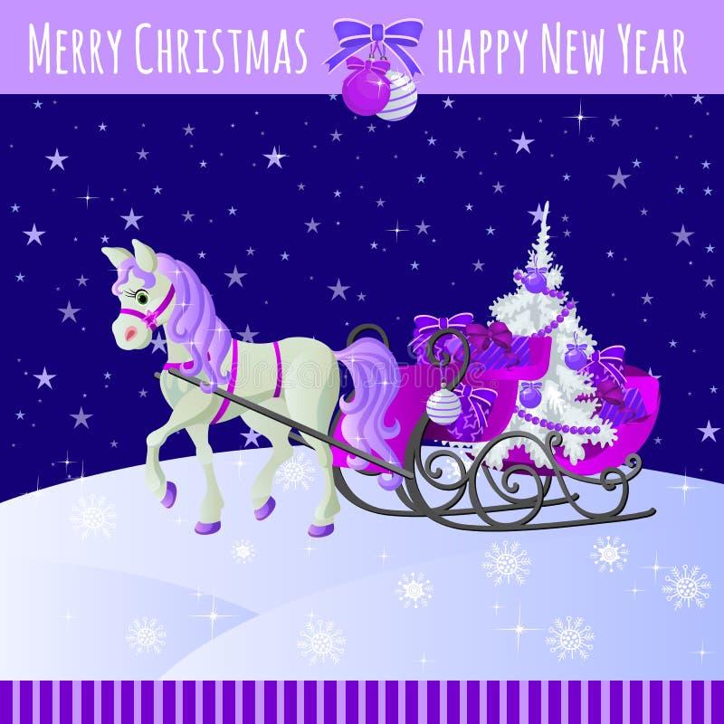 Purpurfärgad julkort med hästen och släden med royaltyfri illustrationer