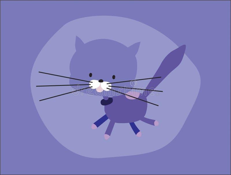 Purpurfärgad katt för gullig vektor, med långa morrhår som hoppar vektor illustrationer