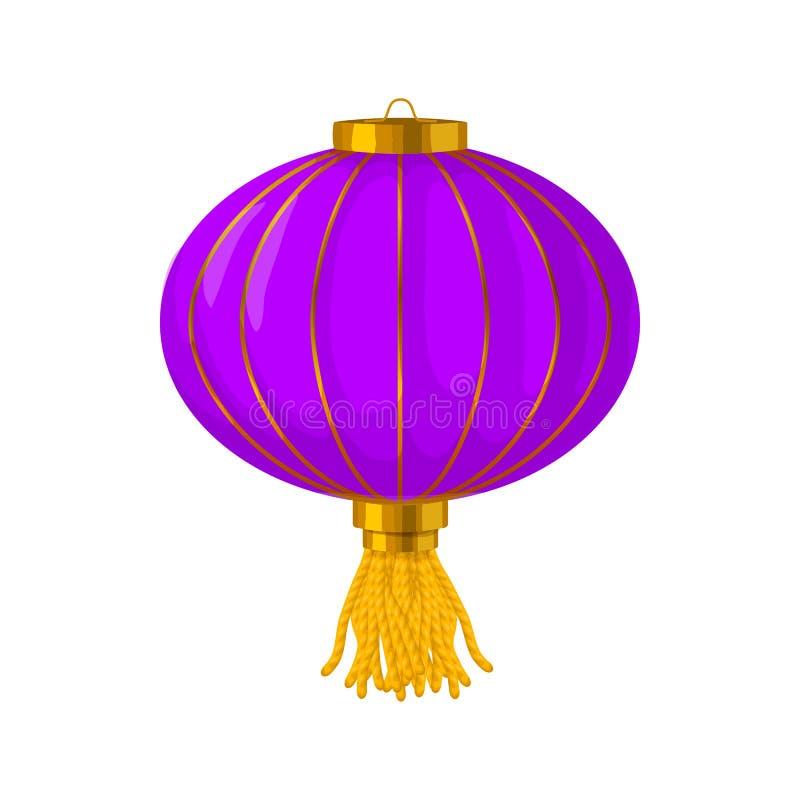 Purpurfärgad kinesisk symbol för pappers- lykta, tecknad filmstil royaltyfri illustrationer