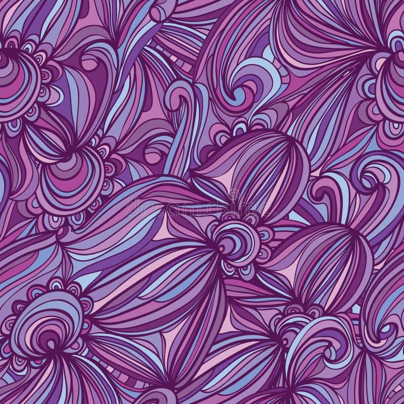 Purpurfärgad linje sömlös modell för blommacirkel stock illustrationer