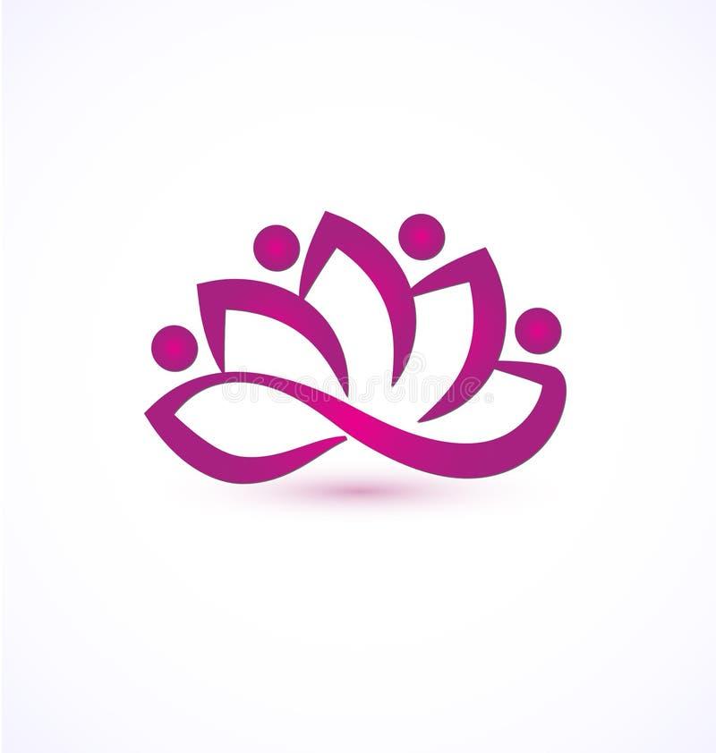 Purpurfärgad logo för lotusblommablomma royaltyfri illustrationer