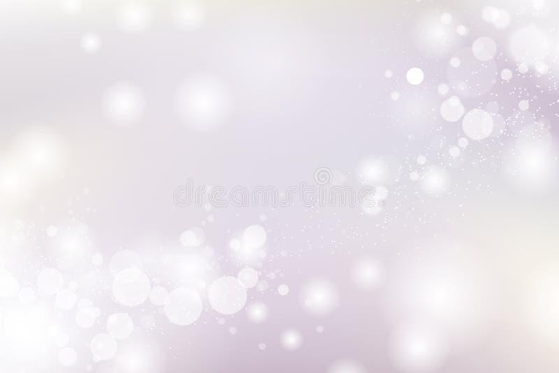 Purpurfärgad och guld- suddighet för Bokeh bakgrund, för ferieabstrakt begrepp för beröm säsongsbetonad illustration för vektor royaltyfri illustrationer
