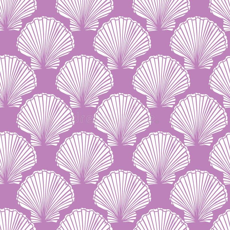 Purpurfärgad och vit snäckskalrepetitionmodell för vektor Passande för gåvasjal, textil och tapet vektor illustrationer