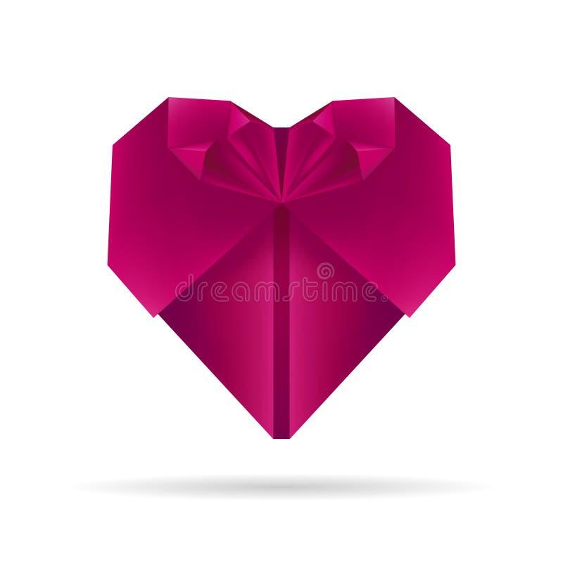 Purpurfärgad origamihjärta stock illustrationer