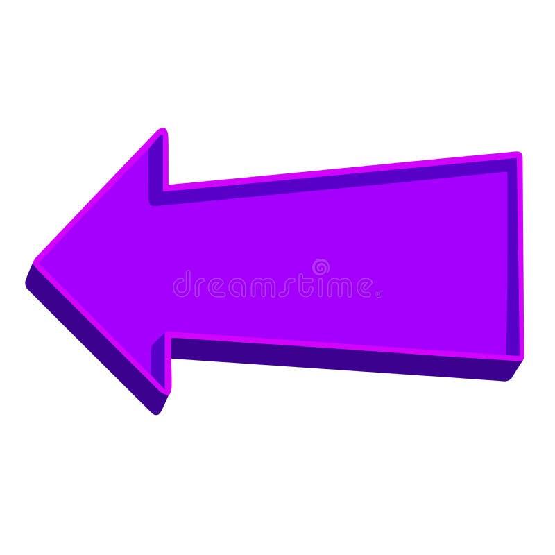 Purpurfärgad pil som pekar vänstersida på en vit bakgrund vektor illustrationer