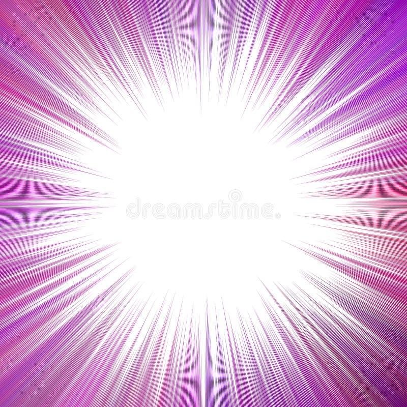 Purpurfärgad psykedelisk design för strålbristningsbakgrund - explosivt diagram för vektor royaltyfri illustrationer