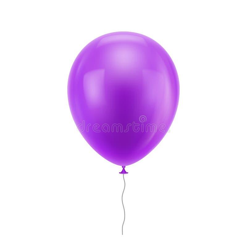 Purpurfärgad realistisk ballong stock illustrationer