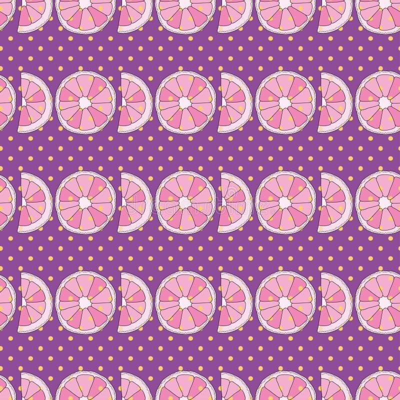 Purpurfärgad sömlös modell för vektor Apelsiner och prickar stock illustrationer