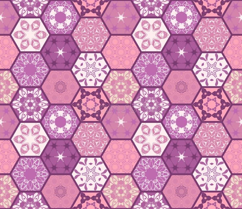 Purpurfärgad sömlös patchworkmodell från olika sexhörniga lappar vektor illustrationer