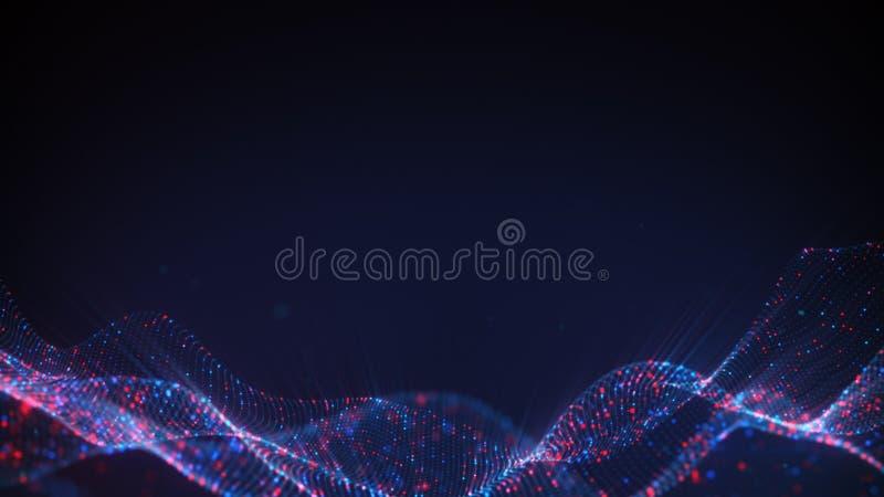 Purpurfärgad science fictionyttersida av den glödande abstrakta tolkningen 3D för partiklar stock illustrationer