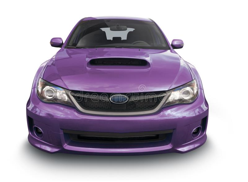 Purpurfärgad Sedan - Front View arkivbild