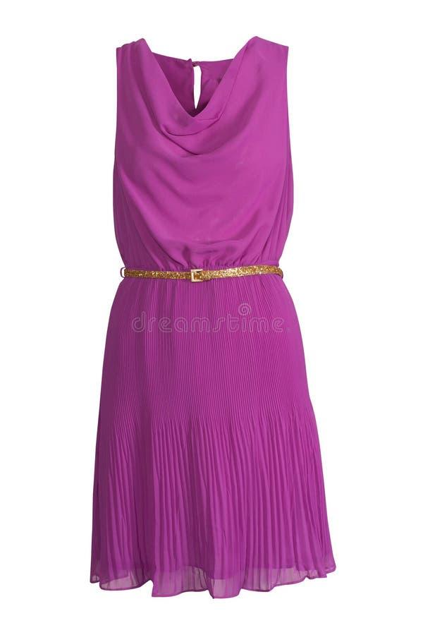 Purpurfärgad siden- klänning arkivfoto