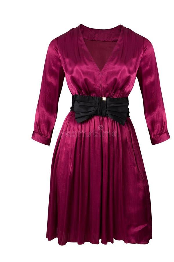 Purpurfärgad siden- klänning fotografering för bildbyråer