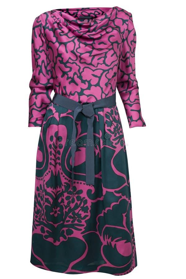 Purpurfärgad siden- klänning arkivbilder
