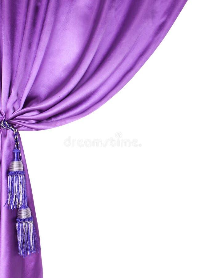 Purpurfärgad silk gardin som isoleras på vit fotografering för bildbyråer