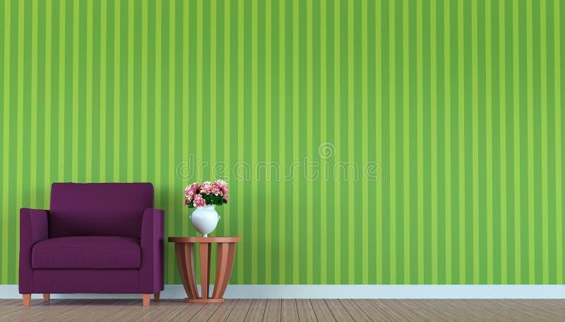 Purpurfärgad soffa i en grön tolkningbild för rum 3d stock illustrationer