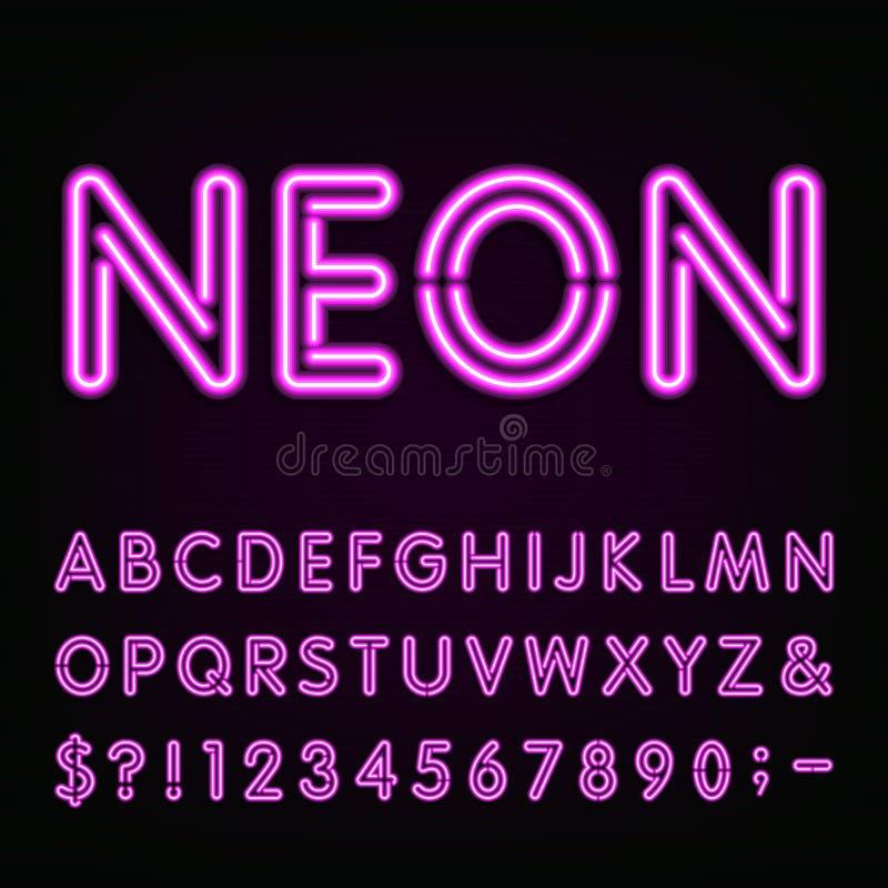 Purpurfärgad stilsort för alfabet för neonljus royaltyfri illustrationer
