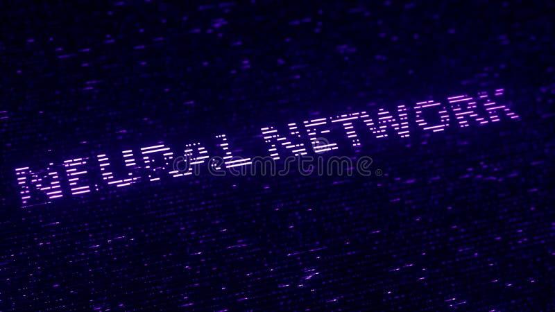 Purpurfärgad text för NERV- NÄTVERK som göras med luminiscenta partiklar för flyg Loopable 3d tolkning stock illustrationer