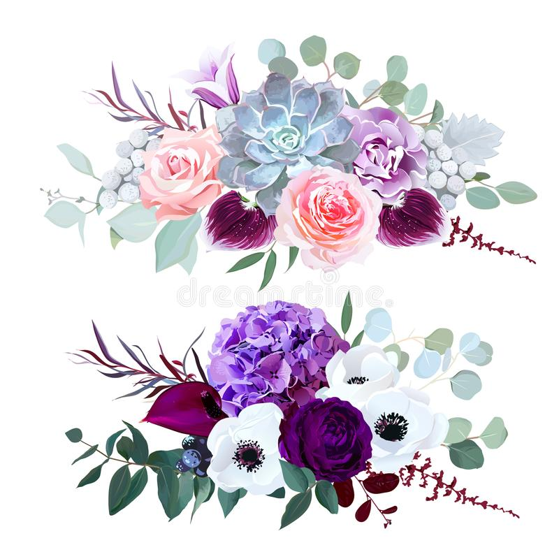 Purpurfärgad vanlig hortensia, nejlika, klockablomma, rosa färgros, anthurium, stock illustrationer