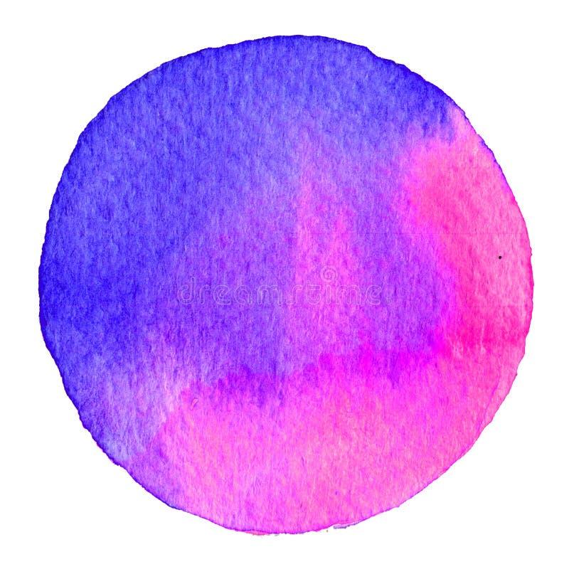 Purpurfärgad vattenfärgcirkel Fläck med pappers- textur Designbeståndsdel som isoleras på vit bakgrund Hand dragen abstrakt mall stock illustrationer