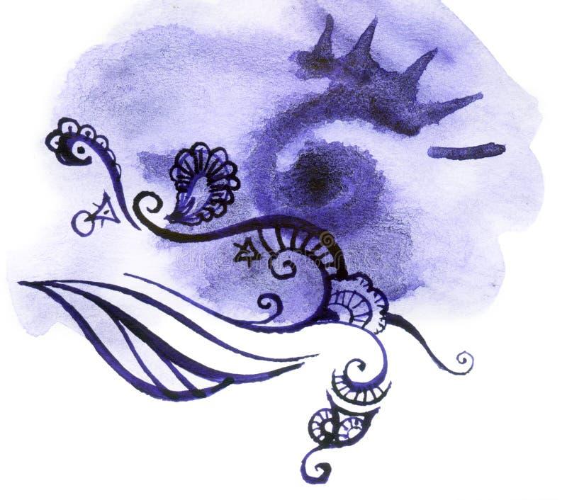 Purpurfärgad vattenfärgtextur royaltyfri illustrationer