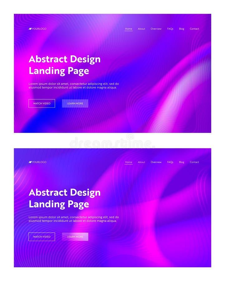 Purpurfärgad Violet Abstract Wave Shape Landing bakgrundsuppsättning Futuristisk design för modell för Digital rörelselutning fly vektor illustrationer