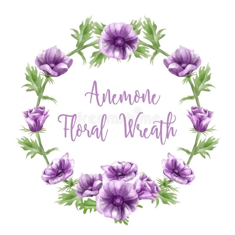 Purpurfärgade anemonblommaordningar, vattenfärger, textmallar royaltyfri illustrationer