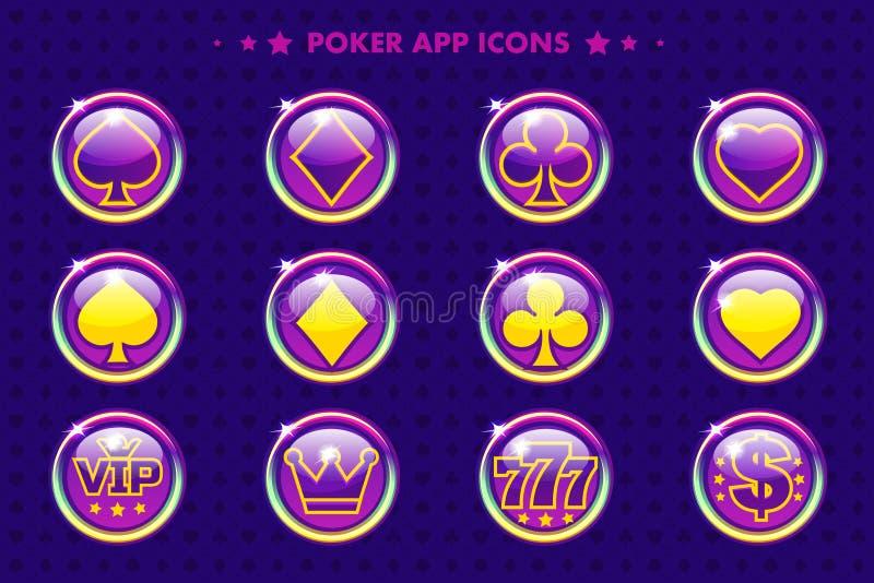 Purpurfärgade app-symboler för poker, tecknad filmkasinosymboler royaltyfri illustrationer