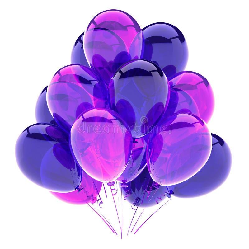 Purpurfärgade ballonger samlar ihop, glansigt för garnering för födelsedagparti violett royaltyfria foton