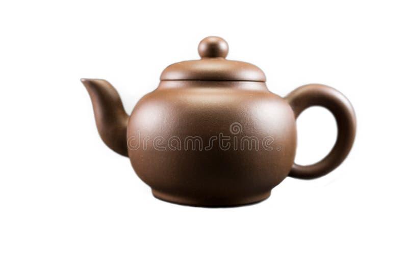 Purpurfärgade Clay Teapot fotografering för bildbyråer