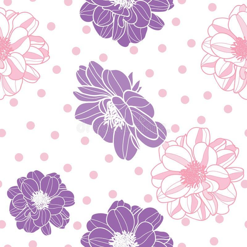 Purpurfärgade för vektor vibrerande & rosa blommor med modellen för repetition för prickbakgrund den sömlösa stock illustrationer