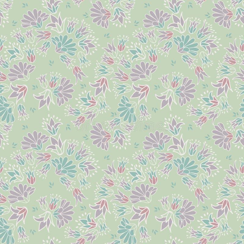 Purpurfärgade gröna pastellfärgade färgade Ditsy blommar sömlös bakgrund för vektorrepetitionmodellen royaltyfri illustrationer