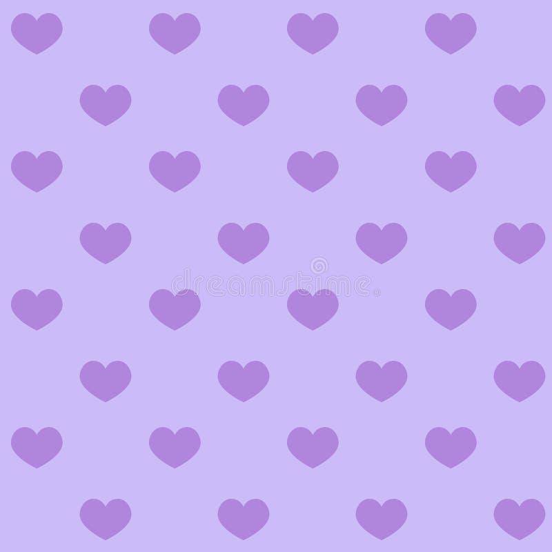 Purpurfärgade hjärtor på en purpurfärgad söm för modell för bakgrundsvalentinförälskelse stock illustrationer