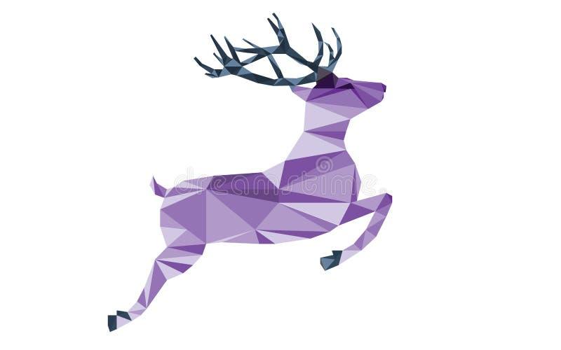 Purpurfärgade hjortar av triangelformer vektor illustrationer