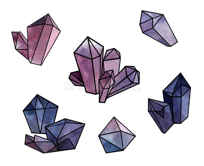 Purpurfärgade kristaller ställde in - vattenfärgillustrationen av mineraler och geometriska former royaltyfri illustrationer
