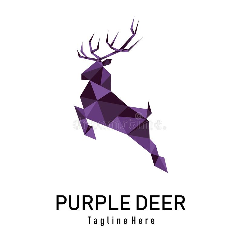 Purpurfärgade låga poly hjortar stock illustrationer