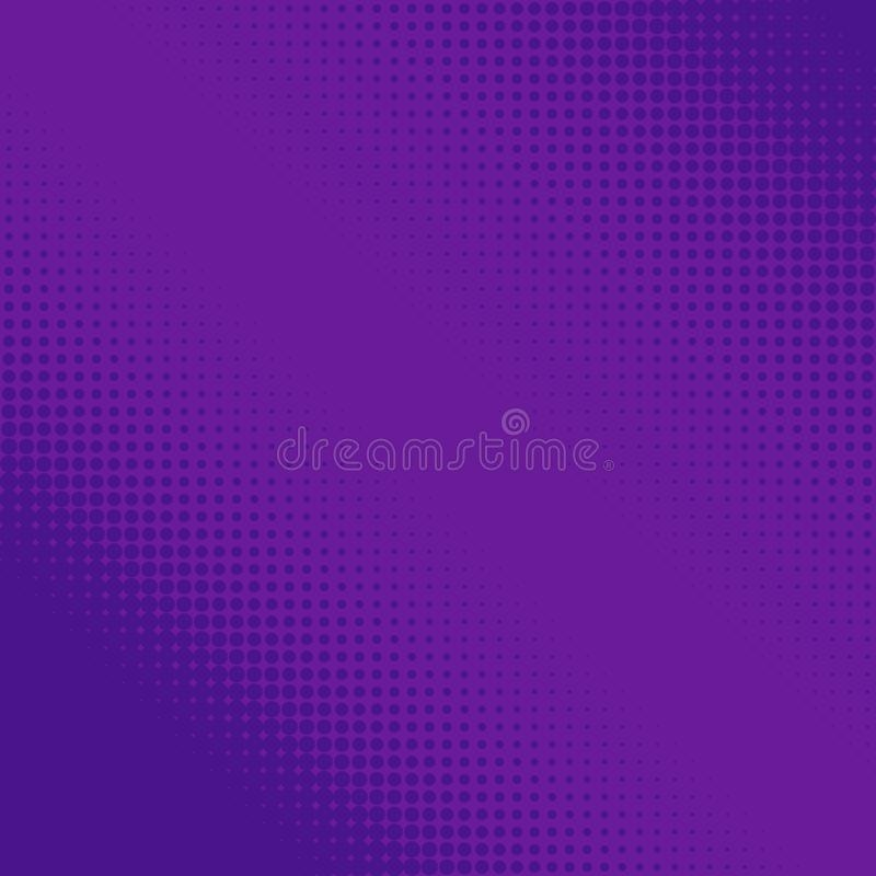 Purpurfärgade rastrerade prickar Färgrik geometrisk lutning för designer för popkonst Prickig geometrisk retro modell Komisk halv stock illustrationer