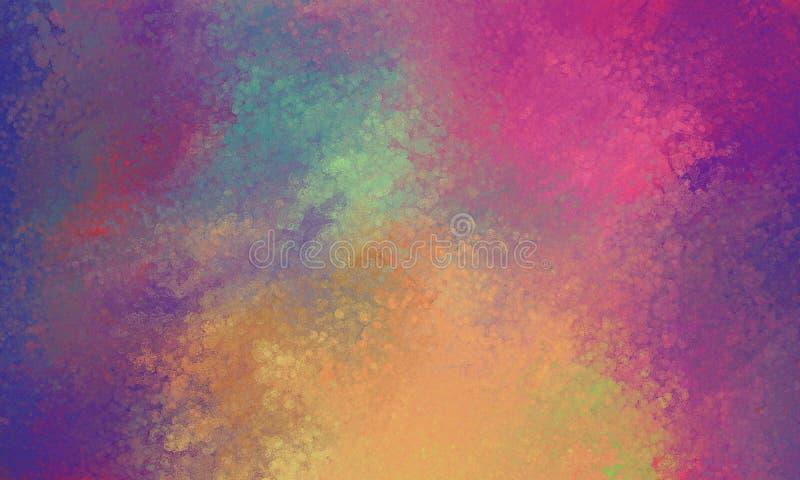 Purpurfärgade rosa färger slösar apelsinen och gulingbakgrund med glas- suddighet för bokehljustextur royaltyfri illustrationer