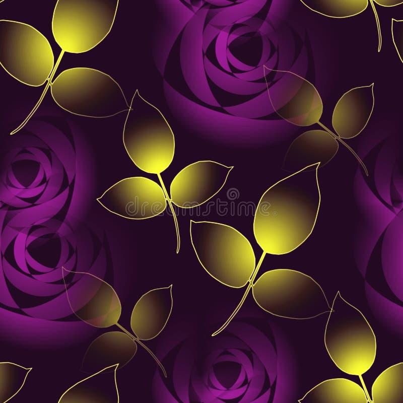 Purpurfärgade rosor för sömlös blom- modell och guld- sidor stock illustrationer