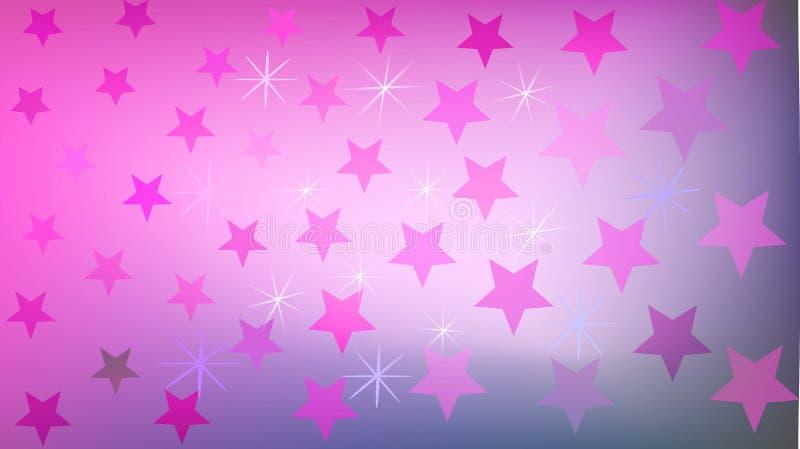 Purpurfärgade stjärnor och skinande olika skuggor på enviolett bakgrund royaltyfri illustrationer