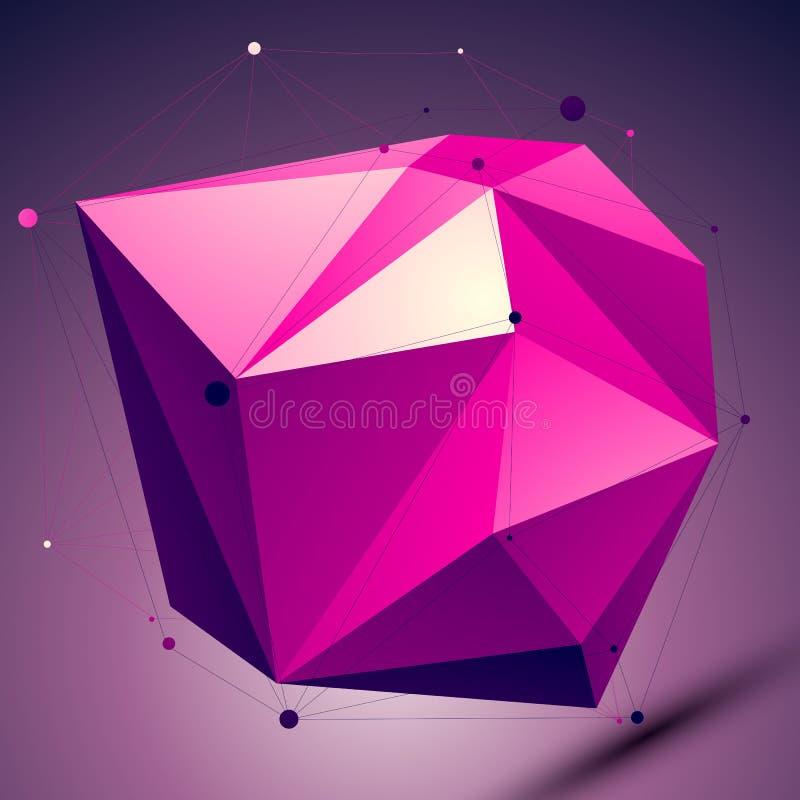 Purpurfärgat assymetriskt teknologiobjekt för abstrakt begrepp 3D stock illustrationer