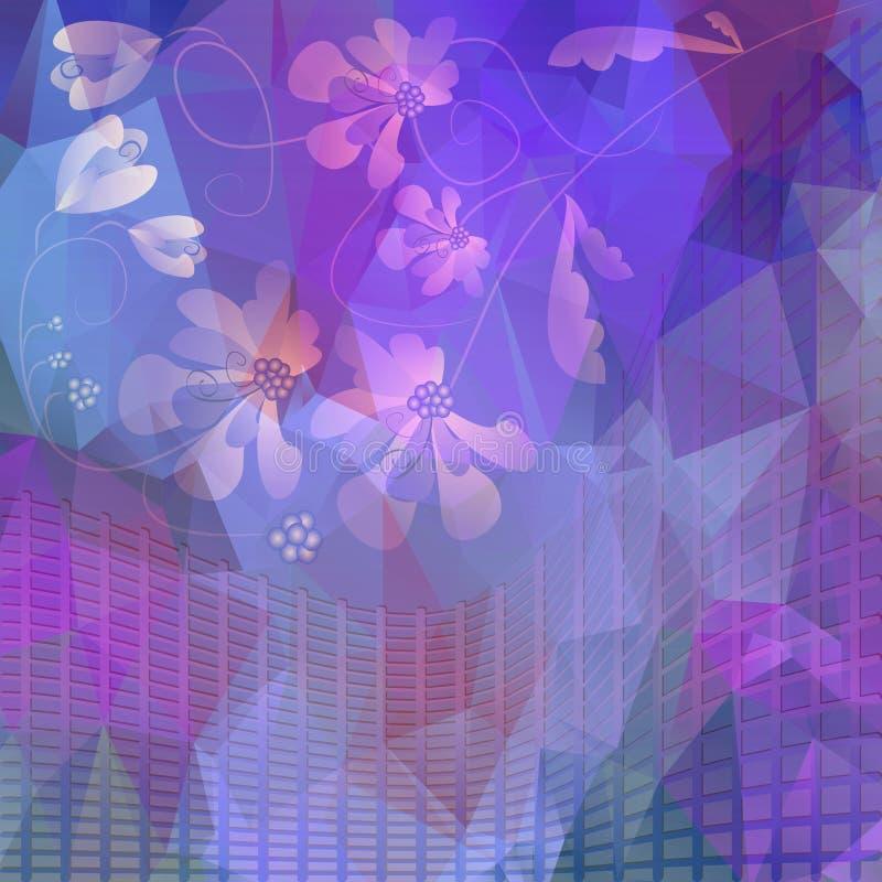 Purpurfärgat blom- motiv på polygonal splittrat område stock illustrationer