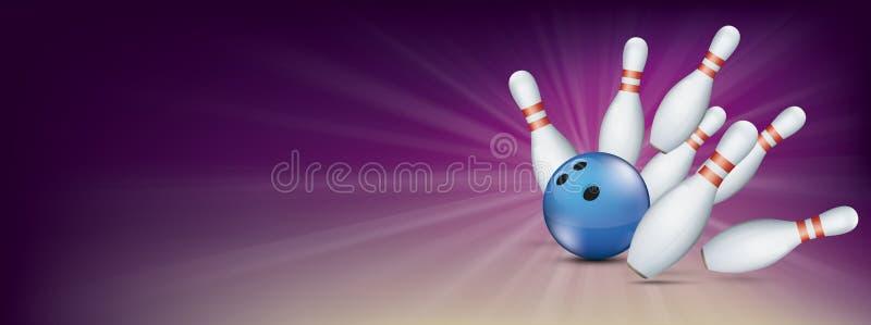 Purpurfärgat bowla Pin Deck Banner Blue Ball slagben royaltyfri illustrationer